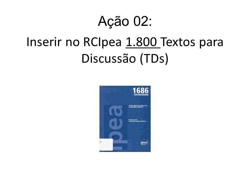 Ação 02: Inserir no RCIpea 1.800 Textos para Discussão (TDs)