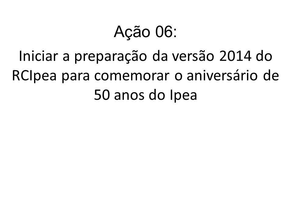 Ação 06: Iniciar a preparação da versão 2014 do RCIpea para comemorar o aniversário de 50 anos do Ipea