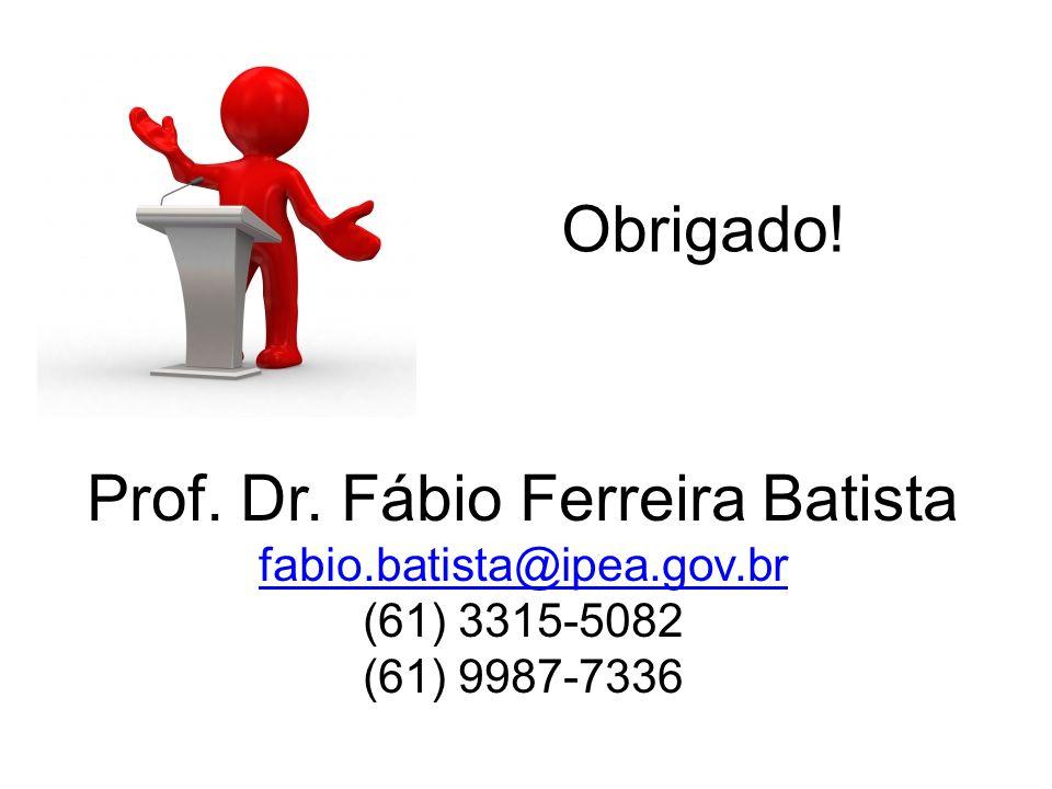 Obrigado! Prof. Dr. Fábio Ferreira Batista fabio.batista@ipea.gov.br (61) 3315-5082 (61) 9987-7336