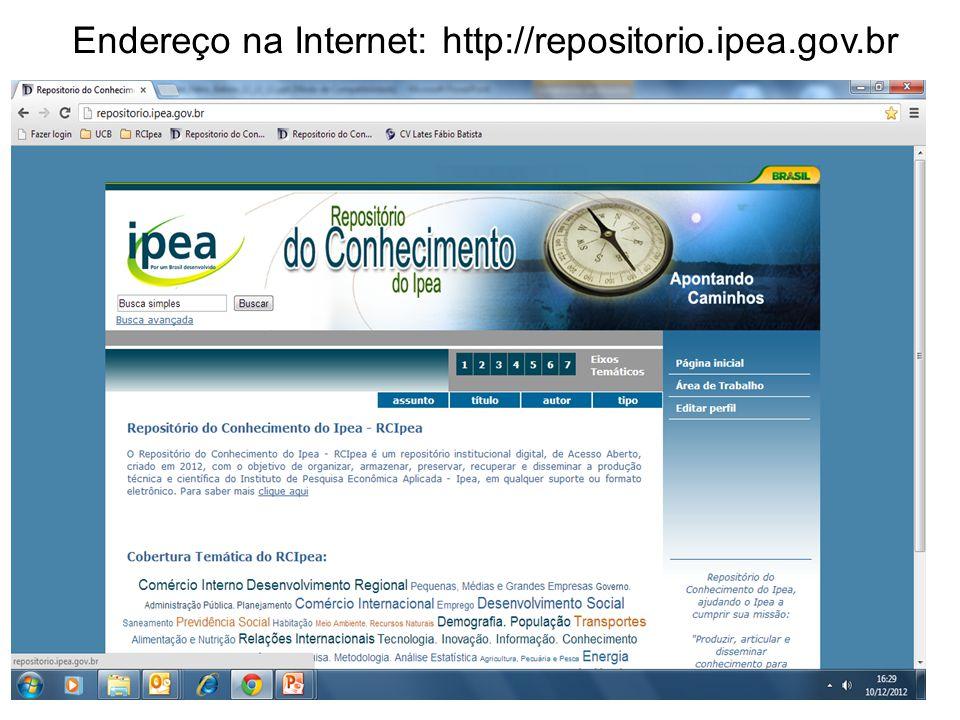 Endereço na Internet: http://repositorio.ipea.gov.br