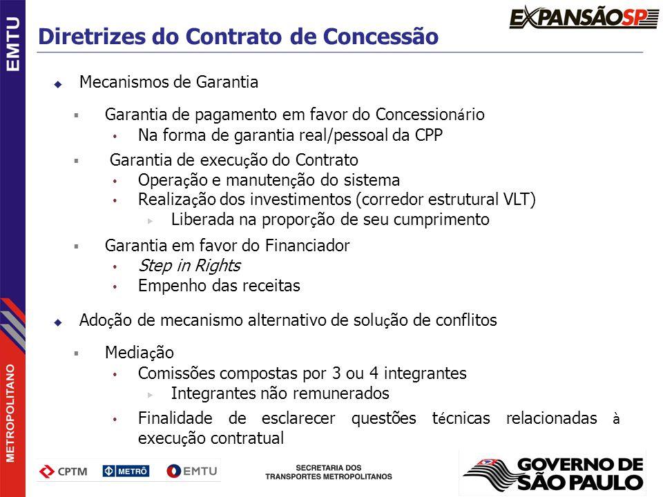 Mecanismos de Garantia Garantia de pagamento em favor do Concession á rio Na forma de garantia real/pessoal da CPP Garantia de execu ç ão do Contrato