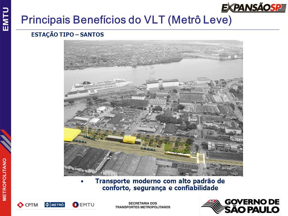 ESTAÇÃO TIPO – SANTOS Transporte moderno com alto padrão de conforto, segurança e confiabilidade Principais Benefícios do VLT (Metrô Leve)