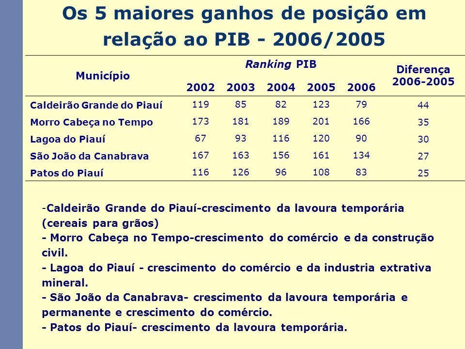 Os 5 maiores ganhos de posição em relação ao PIB - 2006/2005 -Caldeirão Grande do Piauí-crescimento da lavoura temporária (cereais para grãos) - Morro Cabeça no Tempo-crescimento do comércio e da construção civil.