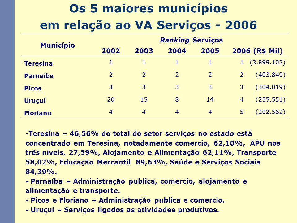 Os 5 maiores municípios em relação ao VA Serviços - 2006 -Teresina – 46,56% do total do setor serviços no estado está concentrado em Teresina, notadamente comercio, 62,10%, APU nos três níveis, 27,59%, Alojamento e Alimentação 62,11%, Transporte 58,02%, Educação Mercantil 89,63%, Saúde e Serviços Sociais 84,39%.
