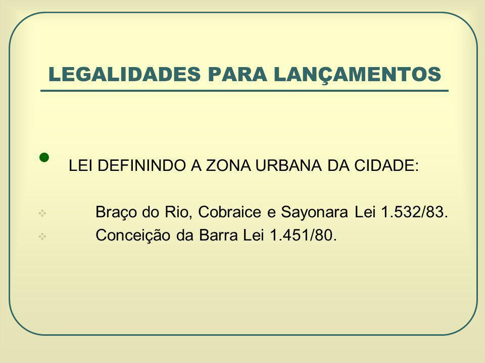 LEGALIDADES PARA LANÇAMENTOS LEI DEFININDO A ZONA URBANA DA CIDADE: Braço do Rio, Cobraice e Sayonara Lei 1.532/83.