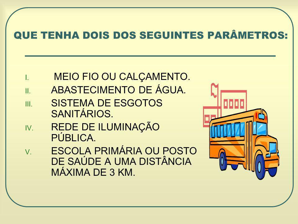 I.MEIO FIO OU CALÇAMENTO. II. ABASTECIMENTO DE ÁGUA.