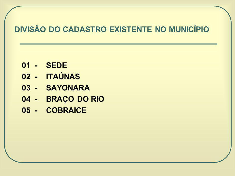 01 - SEDE 02 - ITAÚNAS 03 - SAYONARA 04 - BRAÇO DO RIO 05 - COBRAICE DIVISÃO DO CADASTRO EXISTENTE NO MUNICÍPIO