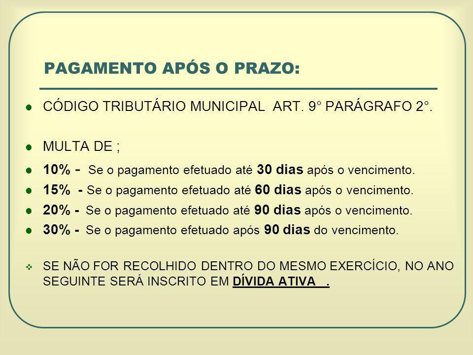 CÓDIGO TRIBUTÁRIO MUNICIPAL ART.9° PARÁGRAFO 2°.