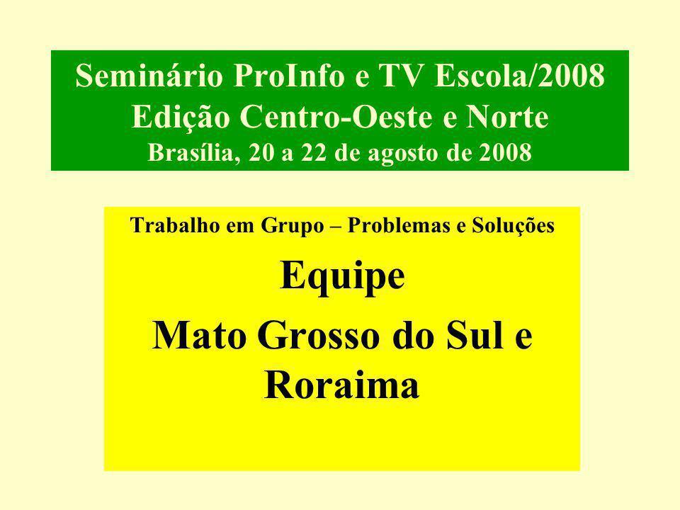 Seminário ProInfo e TV Escola/2008 Edição Centro-Oeste e Norte Brasília, 20 a 22 de agosto de 2008 Trabalho em Grupo – Problemas e Soluções Equipe Mato Grosso do Sul e Roraima