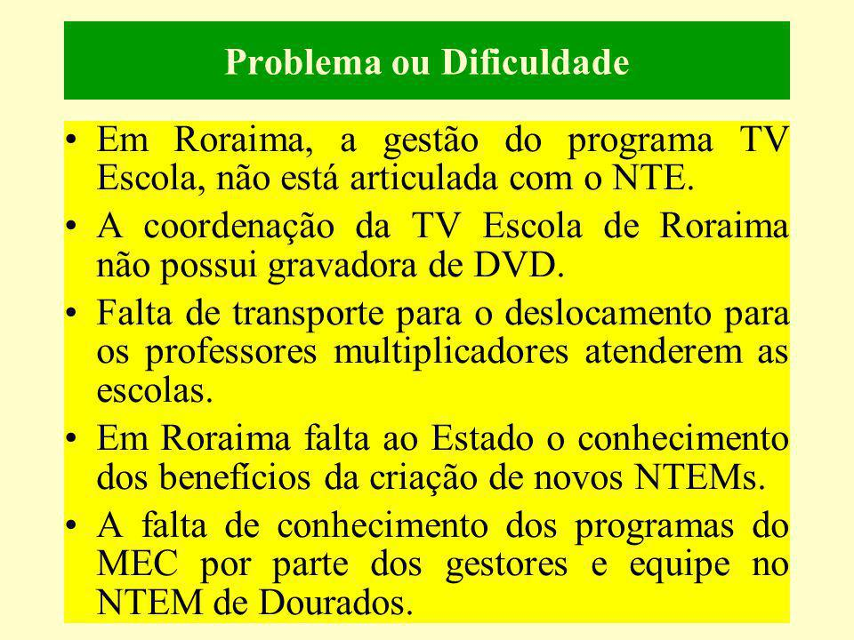 Problema ou Dificuldade Em Roraima, a gestão do programa TV Escola, não está articulada com o NTE. A coordenação da TV Escola de Roraima não possui gr