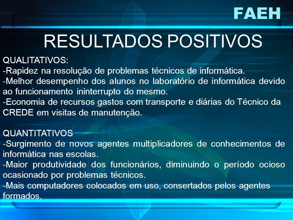 FAEH RESULTADOS POSITIVOS QUALITATIVOS: -Rapidez na resolução de problemas técnicos de informática. -Melhor desempenho dos alunos no laboratório de in