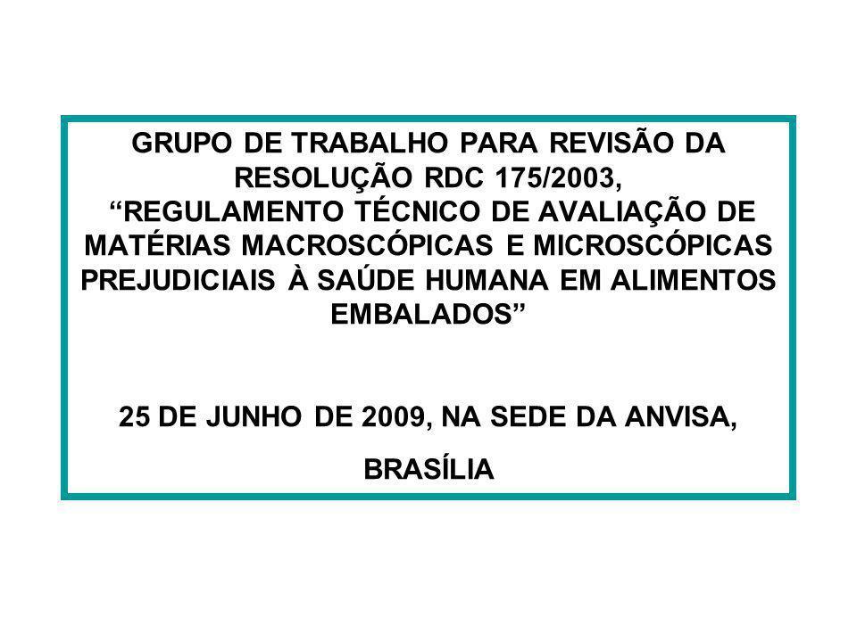 GRUPO DE TRABALHO PARA REVISÃO DA RESOLUÇÃO RDC 175/2003, REGULAMENTO TÉCNICO DE AVALIAÇÃO DE MATÉRIAS MACROSCÓPICAS E MICROSCÓPICAS PREJUDICIAIS À SA
