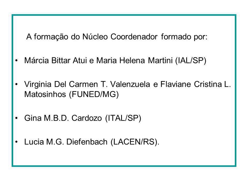 A formação do Núcleo Coordenador formado por: Márcia Bittar Atui e Maria Helena Martini (IAL/SP) Virginia Del Carmen T. Valenzuela e Flaviane Cristina