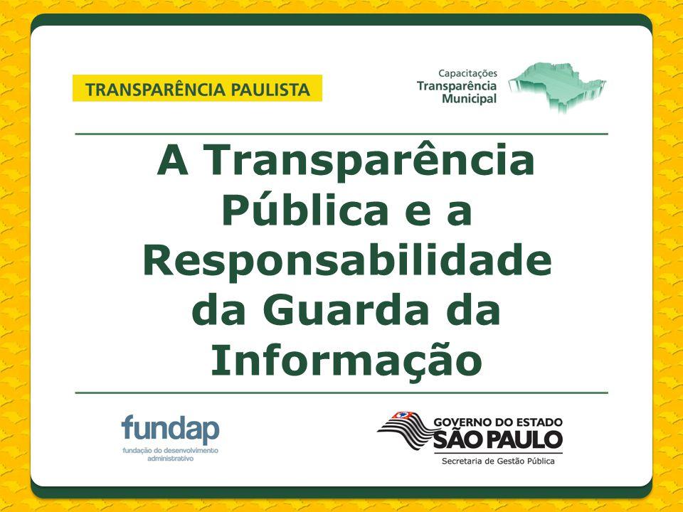 A Transparência Pública e a Responsabilidade da Guarda da Informação