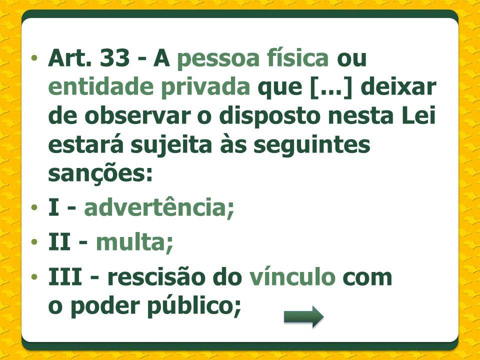 Art. 33 - A pessoa física ou entidade privada que [...] deixar de observar o disposto nesta Lei estará sujeita às seguintes sanções: I - advertência;