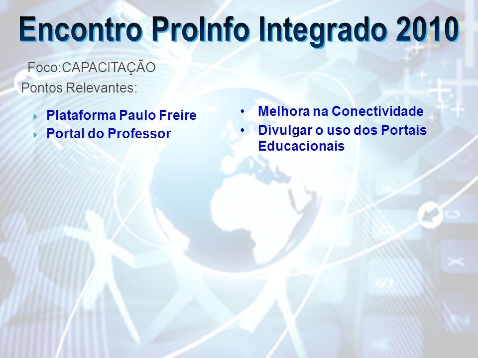 Plataforma Paulo Freire Portal do Professor Melhora na Conectividade Divulgar o uso dos Portais Educacionais Foco:CAPACITAÇÃO Pontos Relevantes: