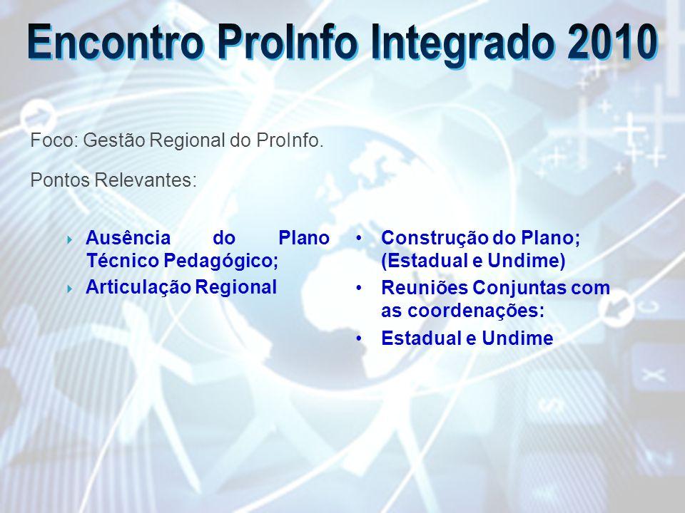 Ausência do Plano Técnico Pedagógico; Articulação Regional Construção do Plano; (Estadual e Undime) Reuniões Conjuntas com as coordenações: Estadual e