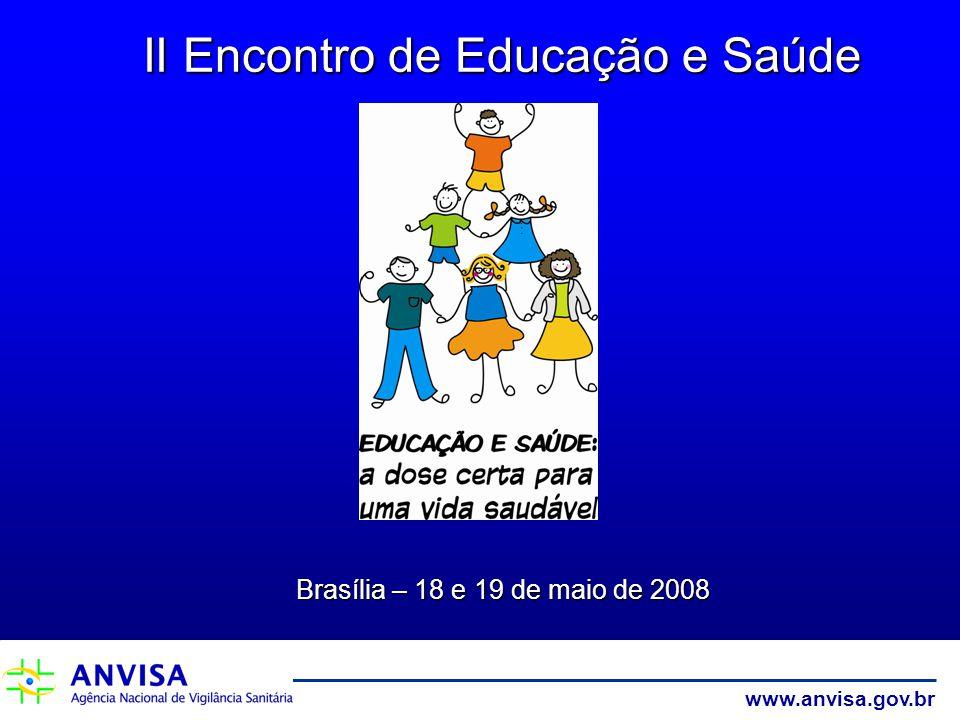 www.anvisa.gov.br II Encontro de Educação e Saúde Brasília – 18 e 19 de maio de 2008