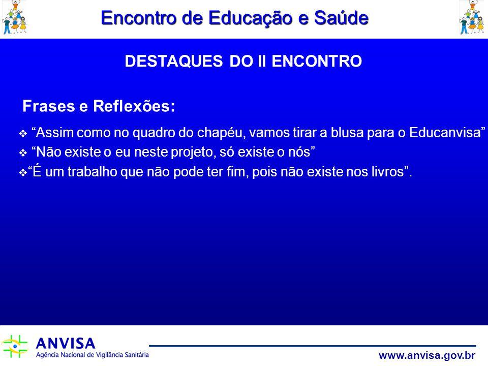 www.anvisa.gov.br Encontro de Educação e Saúde Frases e Reflexões: Assim como no quadro do chapéu, vamos tirar a blusa para o Educanvisa Não existe o