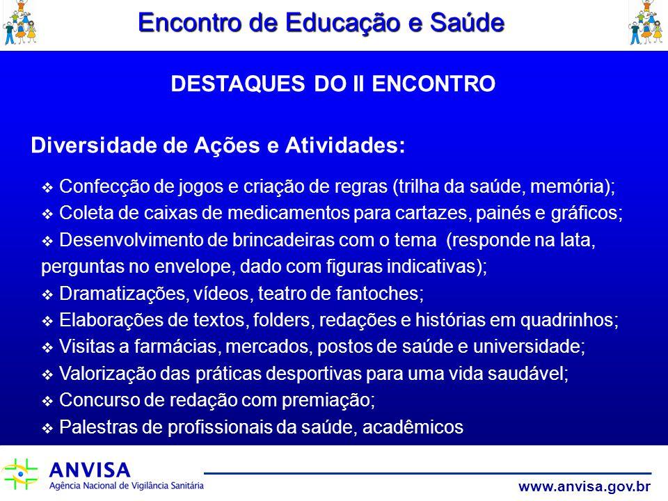www.anvisa.gov.br Encontro de Educação e Saúde Diversidade de Ações e Atividades: Confecção de jogos e criação de regras (trilha da saúde, memória); C