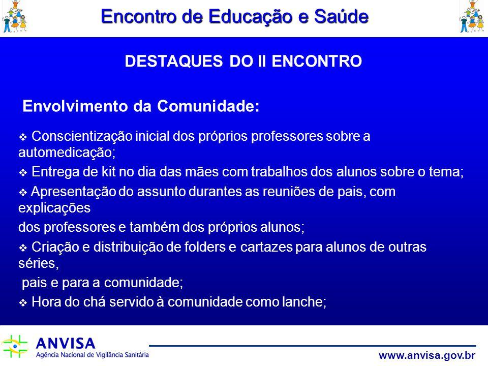 www.anvisa.gov.br Encontro de Educação e Saúde Envolvimento da Comunidade: Conscientização inicial dos próprios professores sobre a automedicação; Ent
