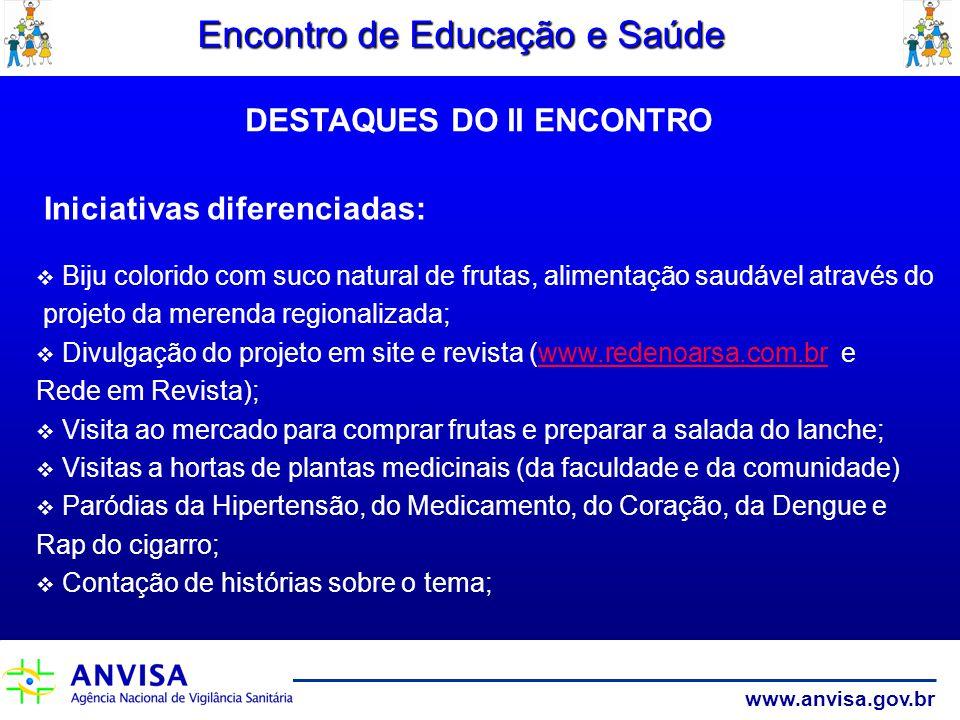 www.anvisa.gov.br Encontro de Educação e Saúde Iniciativas diferenciadas: Biju colorido com suco natural de frutas, alimentação saudável através do pr