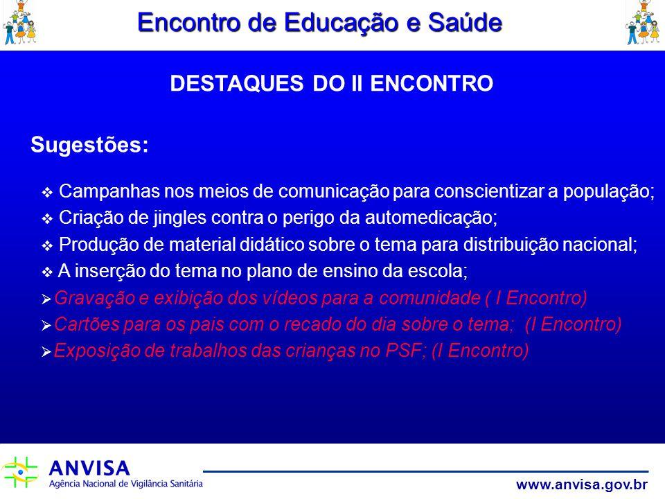 www.anvisa.gov.br Encontro de Educação e Saúde Sugestões: Campanhas nos meios de comunicação para conscientizar a população; Criação de jingles contra