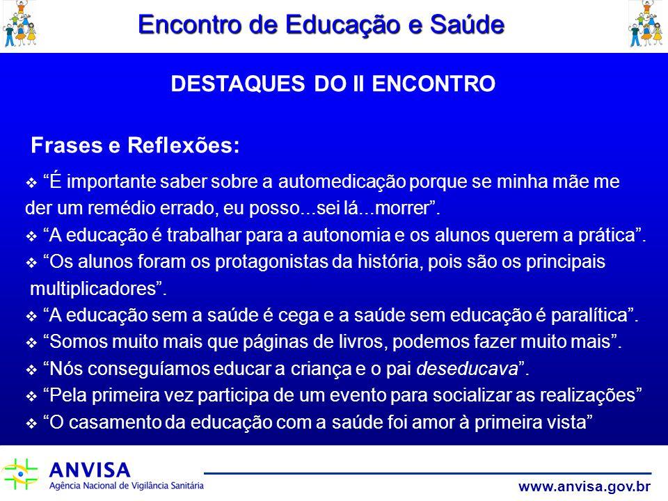www.anvisa.gov.br Encontro de Educação e Saúde Frases e Reflexões: É importante saber sobre a automedicação porque se minha mãe me der um remédio erra
