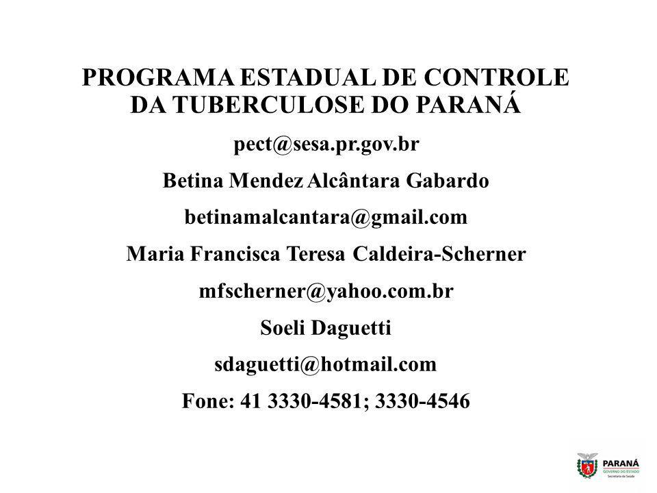 PROGRAMA ESTADUAL DE CONTROLE DA TUBERCULOSE DO PARANÁ pect@sesa.pr.gov.br Betina Mendez Alcântara Gabardo betinamalcantara@gmail.com Maria Francisca