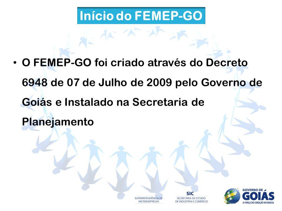Início do FEMEP-GO O FEMEP-GO foi criado através do Decreto 6948 de 07 de Julho de 2009 pelo Governo de Goiás e Instalado na Secretaria de Planejament
