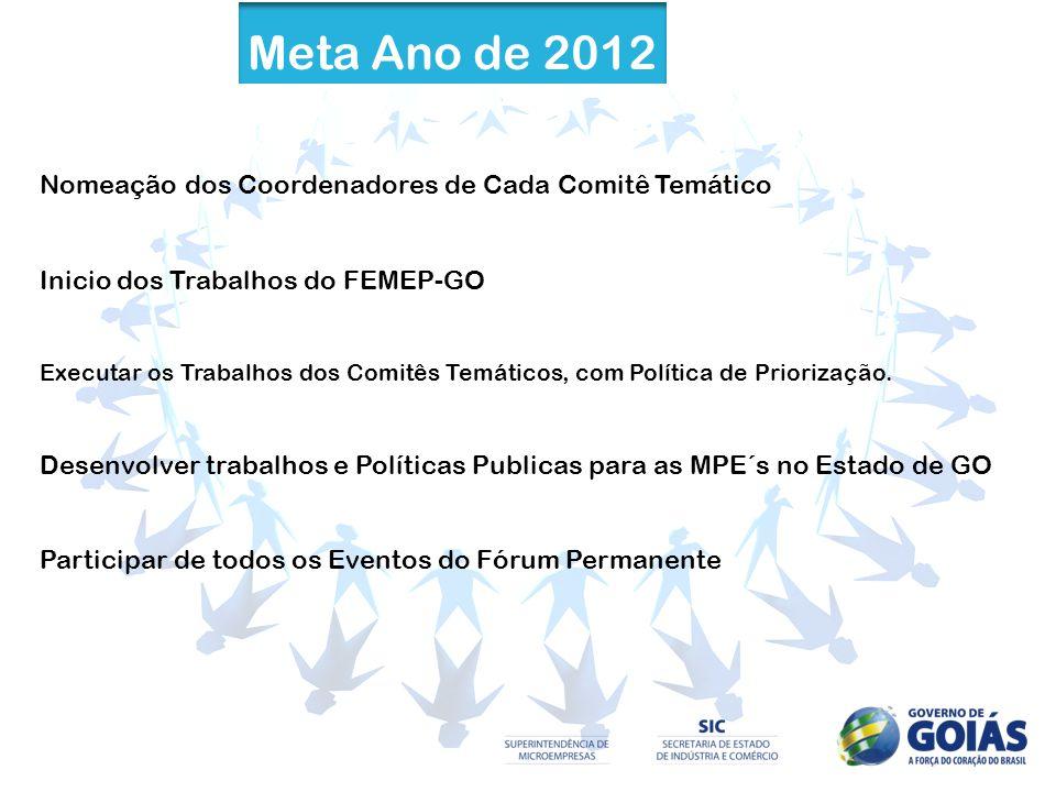 Meta Ano de 2012 Nomeação dos Coordenadores de Cada Comitê Temático Inicio dos Trabalhos do FEMEP-GO Executar os Trabalhos dos Comitês Temáticos, com