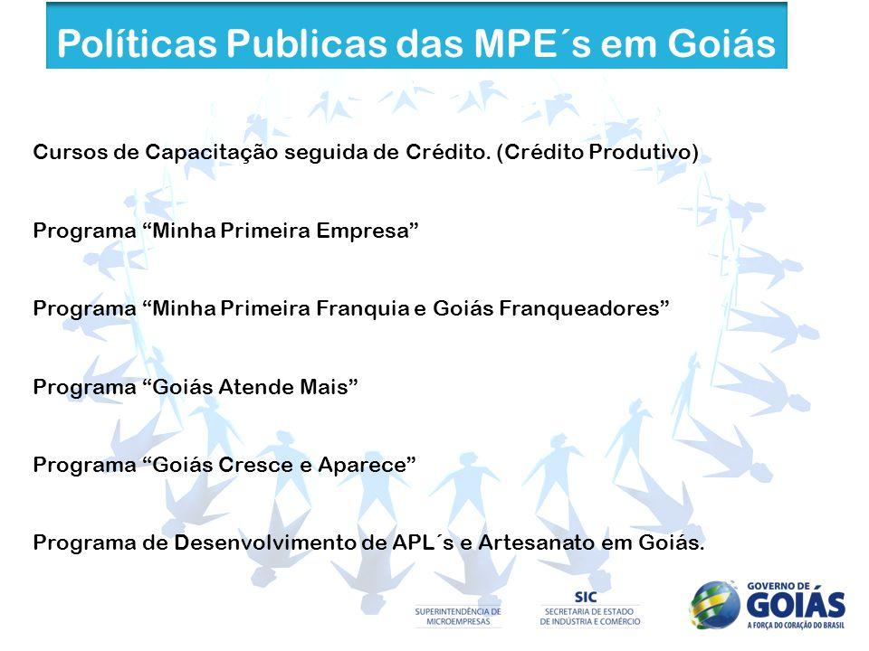 Políticas Publicas das MPE´s em Goiás Cursos de Capacitação seguida de Crédito. (Crédito Produtivo) Programa Minha Primeira Empresa Programa Minha Pri