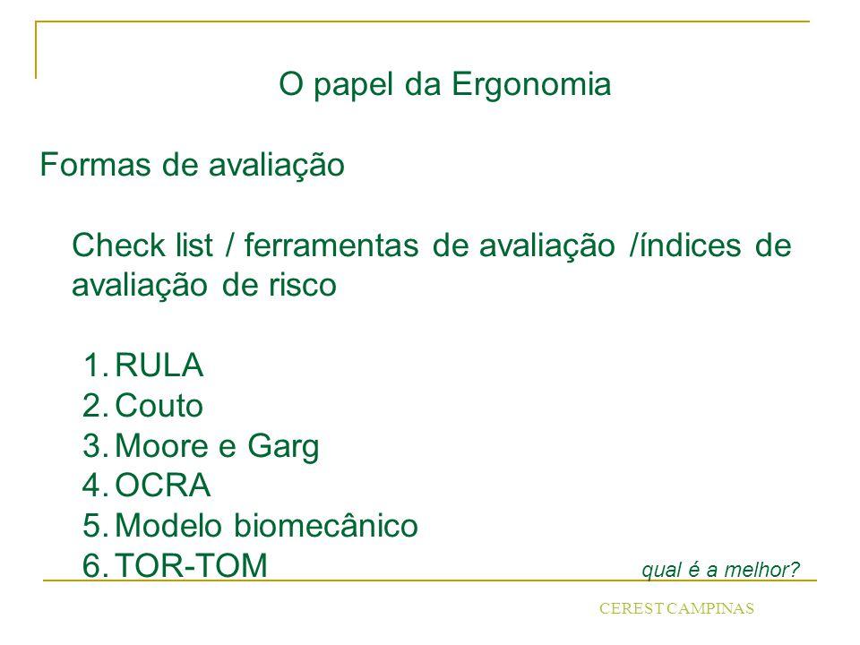 CEREST CAMPINAS O papel da Ergonomia Formas de avaliação Check list / ferramentas de avaliação /índices de avaliação de risco 1.RULA 2.Couto 3.Moore e Garg 4.OCRA 5.Modelo biomecânico 6.TOR-TOM qual é a melhor?