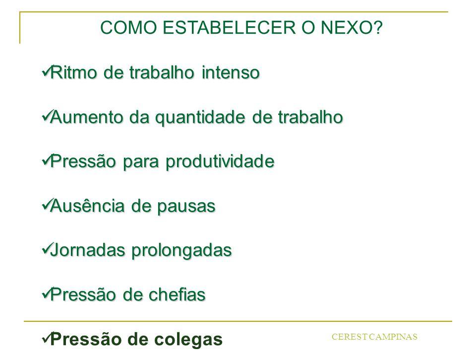 CEREST CAMPINAS COMO ESTABELECER O NEXO.