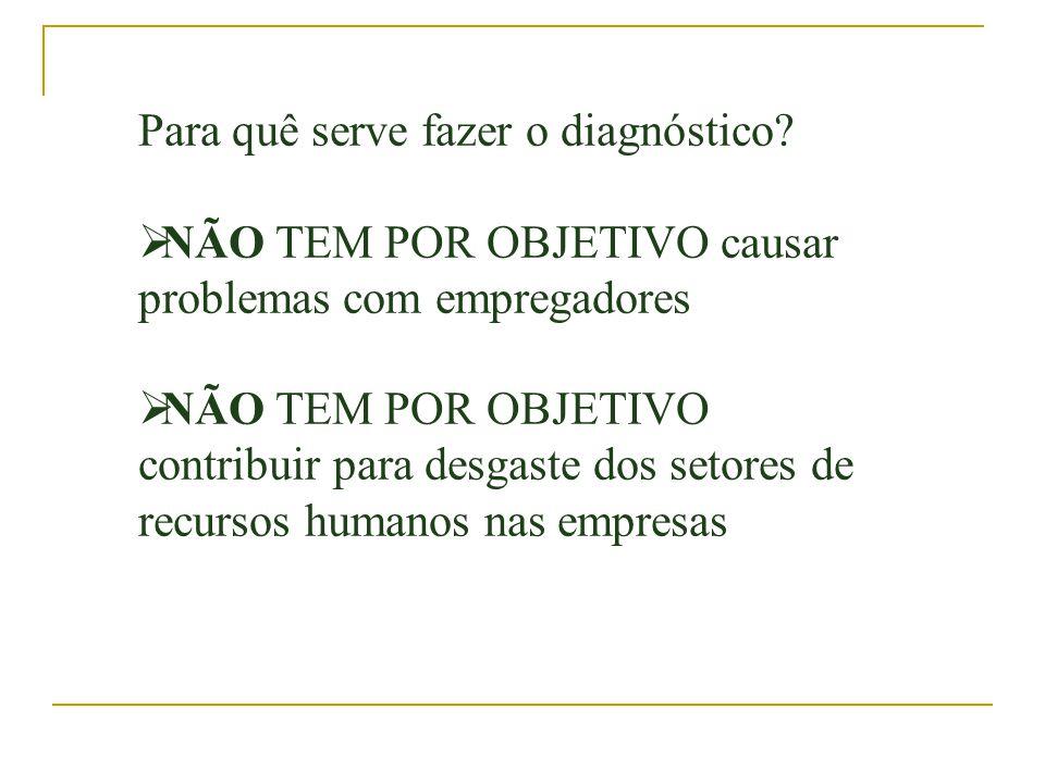 Para quê serve fazer o diagnóstico? NÃO TEM POR OBJETIVO causar problemas com empregadores NÃO TEM POR OBJETIVO contribuir para desgaste dos setores d
