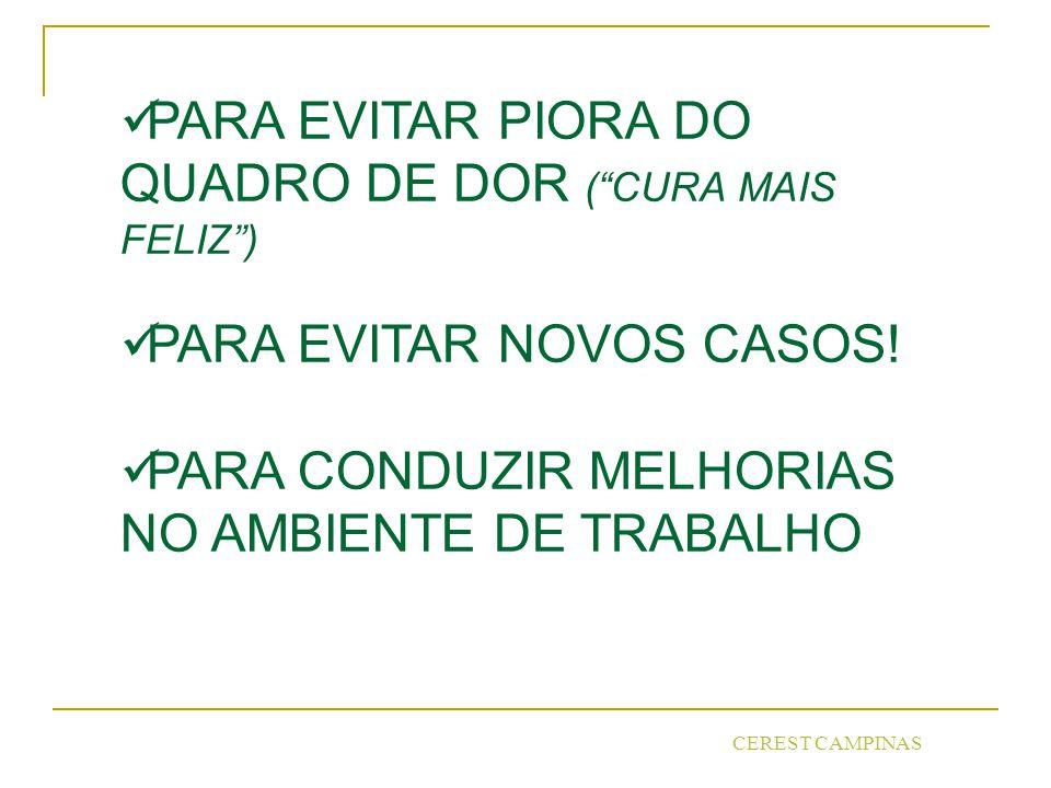 CEREST CAMPINAS PARA EVITAR PIORA DO QUADRO DE DOR (CURA MAIS FELIZ) PARA EVITAR NOVOS CASOS.