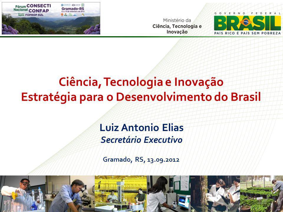Luiz Antonio Elias Secretário Executivo Gramado, RS, 13.09.2012 1 Ciência, Tecnologia e Inovação Estratégia para o Desenvolvimento do Brasil