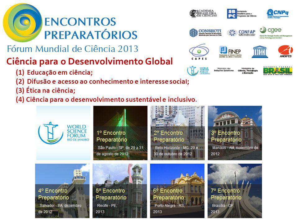 (1)Educação em ciência; (2)Difusão e acesso ao conhecimento e interesse social; (3) Ética na ciência; (4) Ciência para o desenvolvimento sustentável e inclusivo.