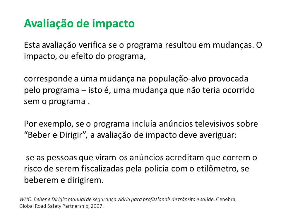 Avaliação de impacto Esta avaliação verifica se o programa resultou em mudanças.