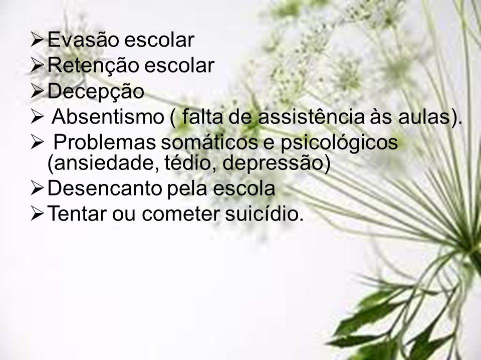 Evasão escolar Retenção escolar Decepção Absentismo ( falta de assistência às aulas). Problemas somáticos e psicológicos (ansiedade, tédio, depressão)