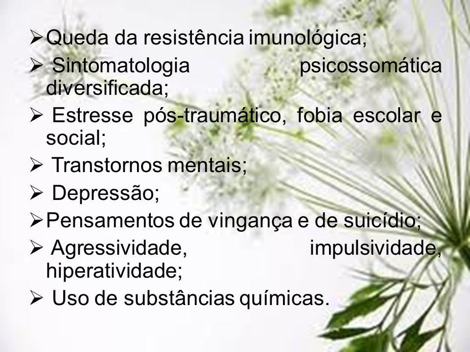 Queda da resistência imunológica; Sintomatologia psicossomática diversificada; Estresse pós-traumático, fobia escolar e social; Transtornos mentais; D