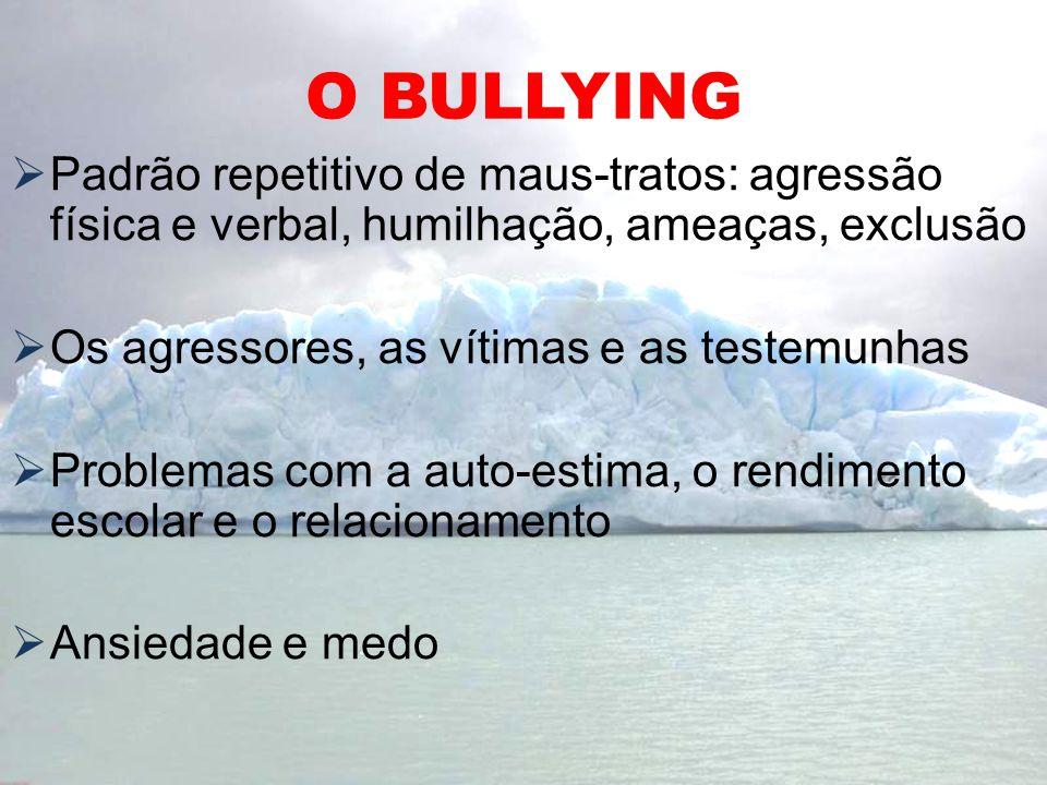 O BULLYING Padrão repetitivo de maus-tratos: agressão física e verbal, humilhação, ameaças, exclusão Os agressores, as vítimas e as testemunhas Proble