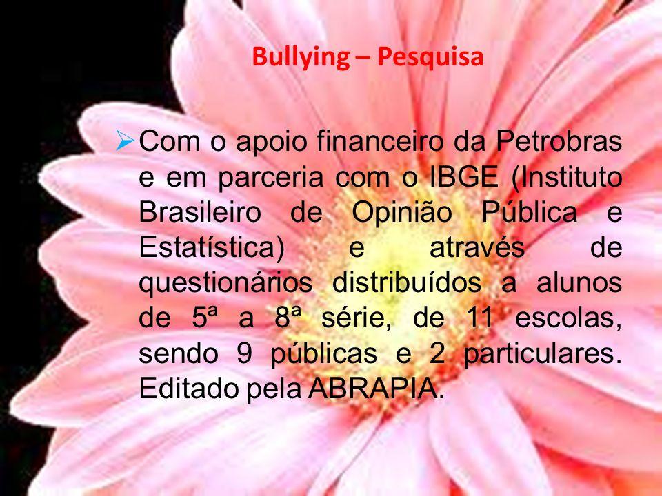 Bullying – Pesquisa Com o apoio financeiro da Petrobras e em parceria com o IBGE (Instituto Brasileiro de Opinião Pública e Estatística) e através de