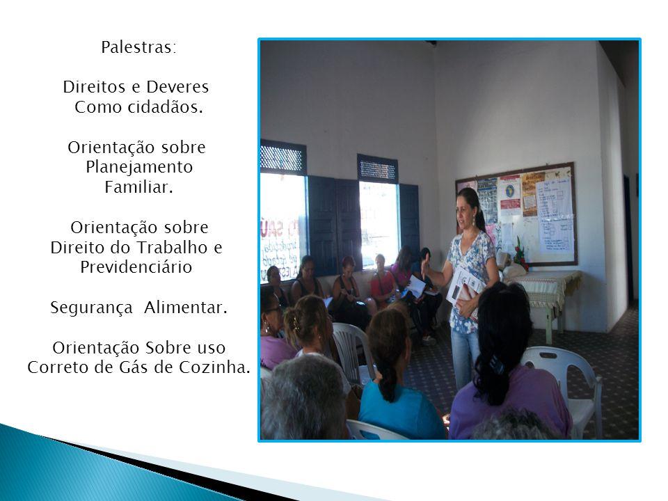 Palestras: Direitos e Deveres Como cidadãos. Orientação sobre Planejamento Familiar.