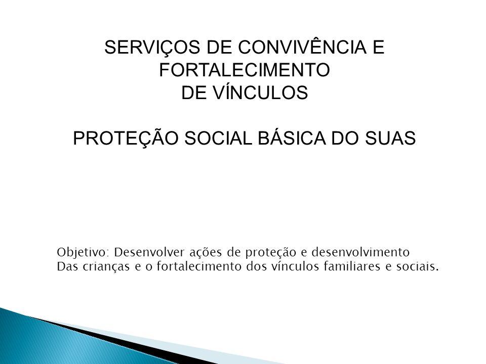 SERVIÇOS DE CONVIVÊNCIA E FORTALECIMENTO DE VÍNCULOS PROTEÇÃO SOCIAL BÁSICA DO SUAS Objetivo: Desenvolver ações de proteção e desenvolvimento Das crianças e o fortalecimento dos vínculos familiares e sociais.