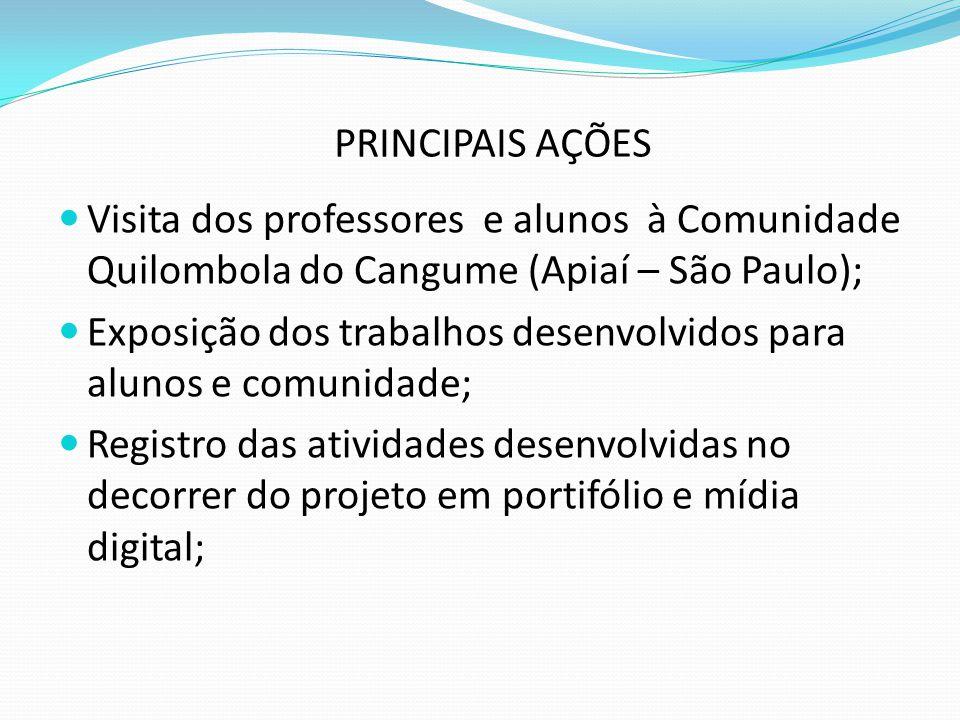 PRINCIPAIS AÇÕES Visita dos professores e alunos à Comunidade Quilombola do Cangume (Apiaí – São Paulo); Exposição dos trabalhos desenvolvidos para alunos e comunidade; Registro das atividades desenvolvidas no decorrer do projeto em portifólio e mídia digital;