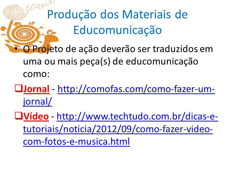 Produção dos Materiais de Educomunicação O Projeto de ação deverão ser traduzidos em uma ou mais peça(s) de educomunicação como: Jornal - http://comof