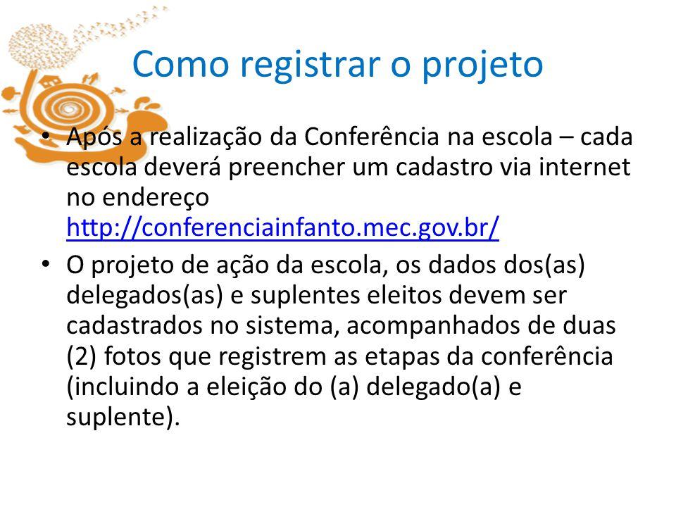 Como registrar o projeto Após a realização da Conferência na escola – cada escola deverá preencher um cadastro via internet no endereço http://confere