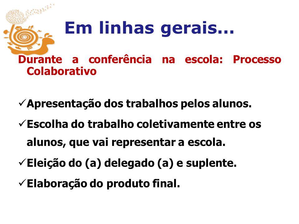 Em linhas gerais... Durante a conferência na escola: Processo Colaborativo Apresentação dos trabalhos pelos alunos. Escolha do trabalho coletivamente