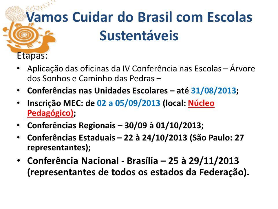 Vamos Cuidar do Brasil com Escolas Sustentáveis Desenvolver os trabalhos na escola com todos os segmentos – Ensino Fundamental Ciclo I, II e Ensino Médio Um representante Unidade Escolar - Jovens de 11 a 14 anos (alunos do Ciclo II)